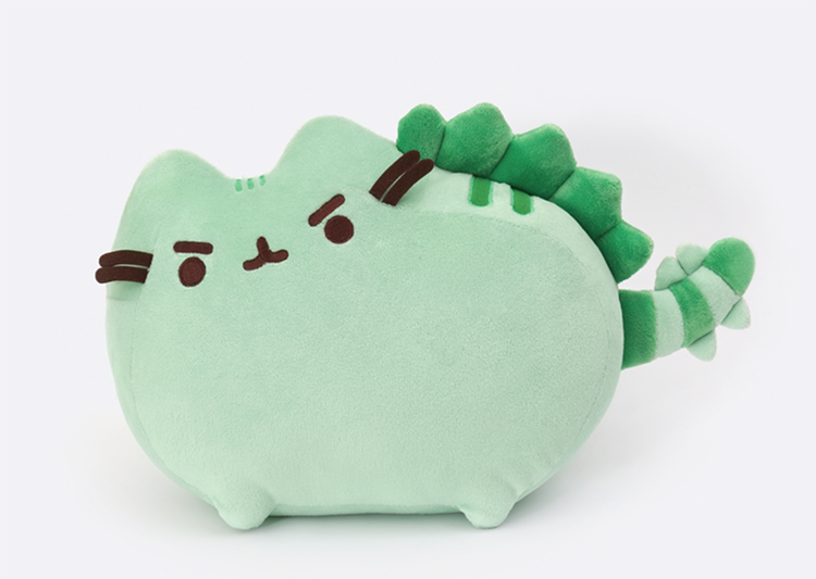 Pusheenosaurus plush with fearsome expression and spiky plush scales!