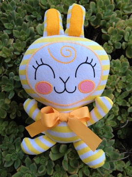 This modern striped bunny wants to hop right into your heart. 