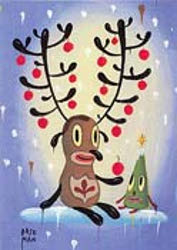 This continuing series of holiday cards features works created by artists and designers exclusively for The Museum of Contemporary Art. Proceeds from their sale support the museum's exhibitions, programs, and collections. This set features Gary Baseman's reindeer with ornaments, giving an ornament to a small Christmas tree friend. Inside greeting: