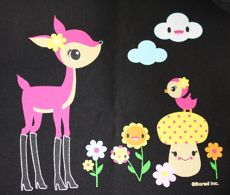 Black cotton canvas tote featuring a super cute deer in boots design.