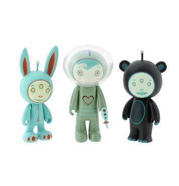 Pastel punk illustrator Tara McPherson's Gamma Mutant Space Friends are earthlings now. 