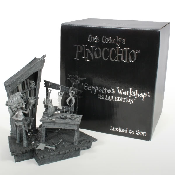 Geppetto's Workshop Cellar Mono Edition by Gris Grimly is a deluxe cold cast collectible which includes removable tools and each piece is hand painted.