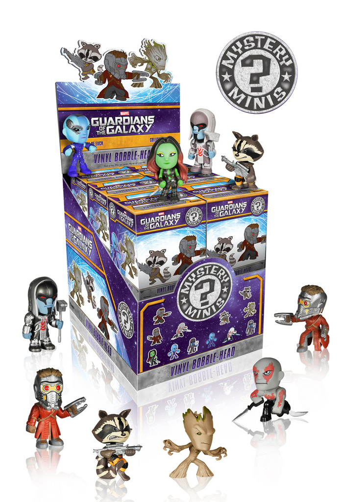 Guardians of the Galaxy Mystery Minis come in twelve possible characters including: Drax the Destroyer, Drax the Destroyer - Glow-in-the-Dark, Gamora, Groot, Nebula, Nebula - Glow-in-the-Dark, Rocket Raccoon - both feet on the ground, Rocket Raccoon - kicking, Ronan the Accuser - black helmet, Ronan the Accuser - silver helmet, Star Lord - blaster in one hand, and Star Lord - blaster in both hands.