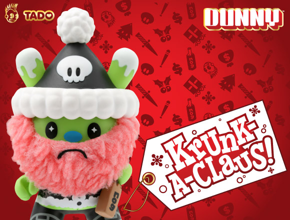 Get in the Yuletide spirit with TADO's Krunk-A-Clause Dunny. With a bottle of 'nog and ice cream cone, the jolly Krunk is the gift that keeps on giving. But watch out for the crowbar wielding, holiday hating chase! Blindbox assortment.
