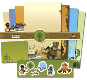 Stationery Set Pete Fowler Woodlands of Monsterism Island. Set includes 8 letter sheets, 6 envelopes, 1 sticker sheet