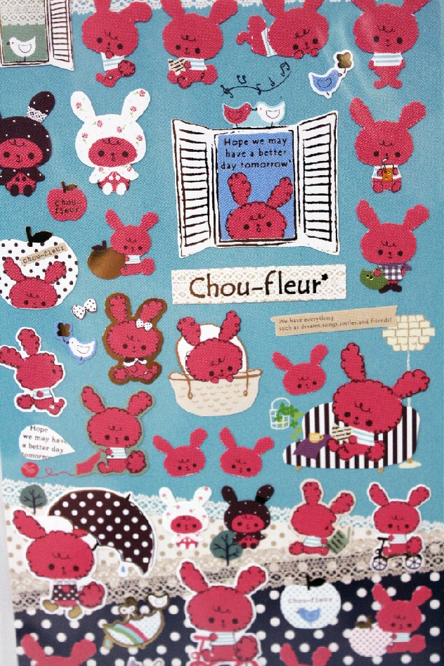 Love Chou-Fleur? Let the world know with this trendy sticker set, featuring your favorite character in a variety of poses and activities!