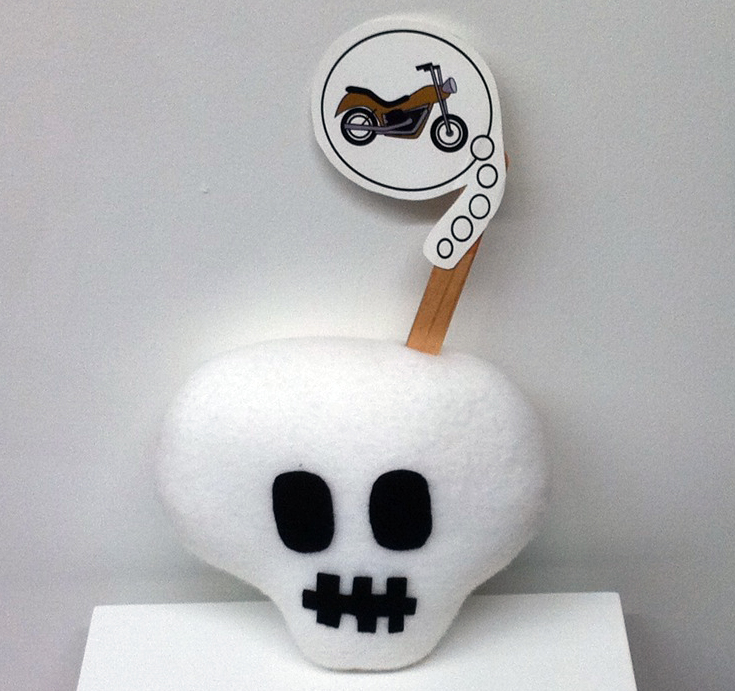 Skull Dreams cuddler plush by Mr Pickles.  Includes a thought bubble stick accessory.