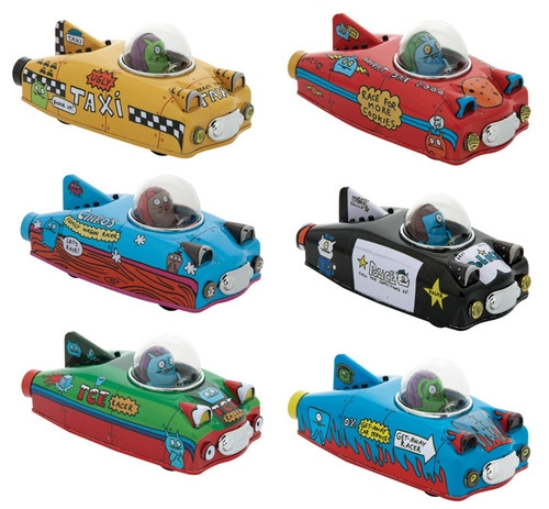 Uglydoll Super Race Series 6 cool tin Uglycars with friction motors! Your favorite Uglydoll characters are now mobile! Ice-Bat and Babo feel the need for speed! Hail a ride with Jeero in his shiny yellow taxi. Make a fast break with Ox?s getaway service. Go for a relaxing cruise with Cinko in the family wagon. Whoever you decide to roll with, watch out for flashing lights! Wedeghead?s riding in a police car and loves giving tickets! Grab all 6!