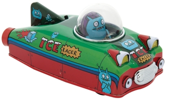 Uglydoll Super Race Series 6 cool tin Uglycars with friction motors! Your favorite Uglydoll characters are now mobile! Ice-Bat and Babo feel the need for speed! Hail a ride with Jeero in his shiny yellow taxi. Make a fast break with Ox's getaway service. Go for a relaxing cruise with Cinko in the family wagon. Whoever you decide to roll with, watch out for flashing lights! Wedeghead's riding in a police car and loves giving tickets! Grab all 6!