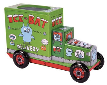 Uglydoll brings its quirky characters to its first series of classic tin toys. Functional, free wheeling trucks are coin banks and pencil holders are beautifully lithographed and sure to be a collector?s dream!