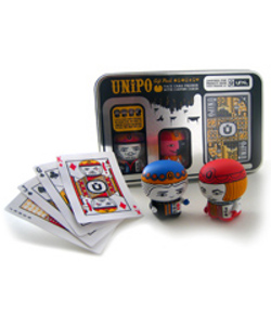 What's UniPoker? Two of the four royal UniPo figures, and a deck of cards (face cards customized by UNKL) packed in a really cool collectible tin. Collect all four: King, Queen, Jack and that wily Joker.