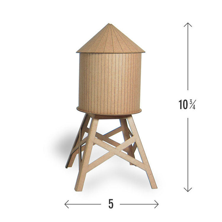 Mini water tower model kit, lasercut from 100% recycled material making each kit unique and color varied. Assemble in minutes to display in a window or on your desk as-is, or spend some time customizing it. Each kit comes with directions.