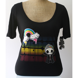 Tokidoki Women's Rainbow Adios Black T-shirt - Large
