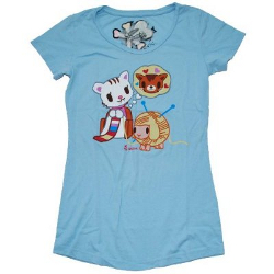 Tokidoki Women's Purrl Sky Blue T-shirt- Small