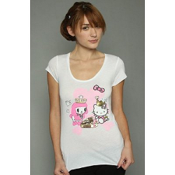Tokidoki Women's Chocolate Kitty White T-shirt - Medium